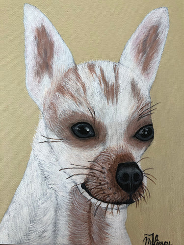 Chihuahua dog Smart Cute Animal Playful for Kids Acrylic Painting Handmade Art by Maria Iliescu