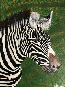 Zebra Wonderful Animal White and Black Striped Coat Unique Animal Handmade Art by Maria Iliescu