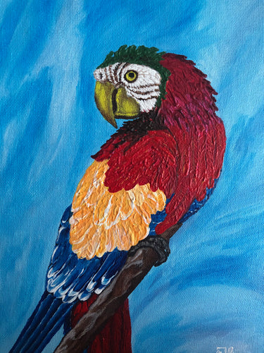 Fun Parrot  Curved Bills Brightly Coloured Tropical Areas Smart Birds Species Handmade Art by Maria Iliescu