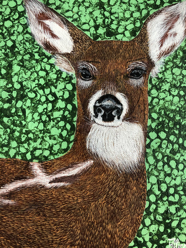 Gorgeous Deer Acrylic Painting Symbol of Regeneration Long Legs Smart Wild Animals Natural Habitat Handmade Art by Maria IliescuTypical Coloring