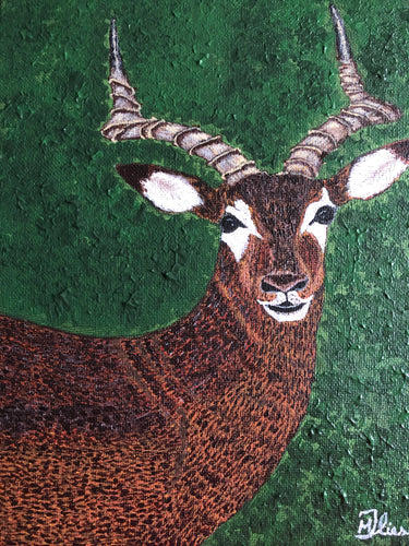 Deer with Antlers Wild Man Animal Symbol of Authority Long Legs Smart Handmade Art by Maria Iliescu