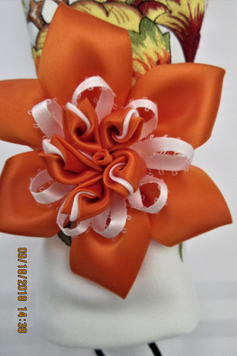 Orange Flower Set of Napkin Rings Handmade Art by Maria Iliescu Cozy Supper Decorating Table Holiday Feast Dinner Decorative Ideas - HANDMADE ART BY MARIA ILIESCU