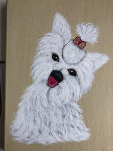 Terrier Dog Best Pet Smart Friendly Loyal Energetic Loving Cute Handmade Art by Maria Iliescu