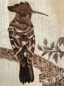 Bird on the Tree Art Wood Pyrography Basswood Hand Drew Wood Burning Art Handmade Art by Maria Iliescu