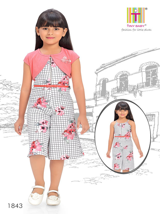 Checks pattern Pink Coloured Jumpsuit - 1843-Peach - TINY BABY INDIA