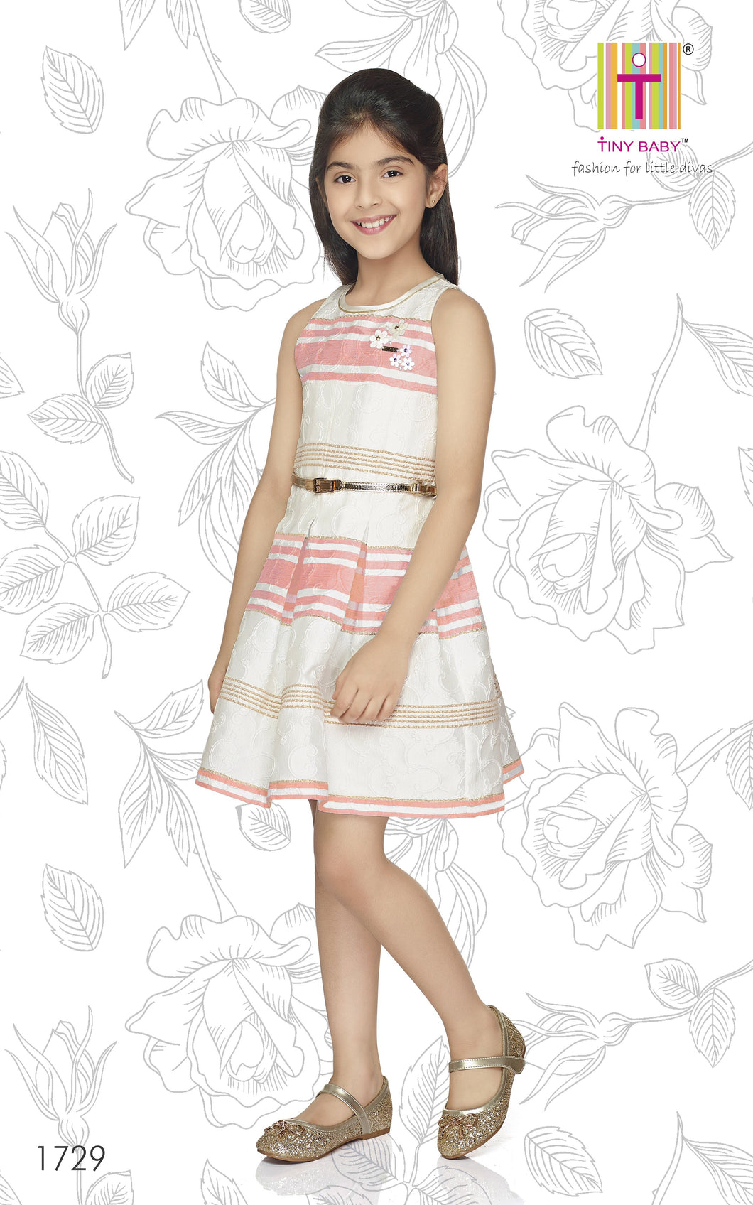Tiny Baby Pink Coloured Dress 1729-Pink - TINY BABY INDIA