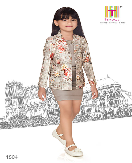 Solid Floral Applique Dress and Checks Jacket Set - 1804-GREY - TINY BABY INDIA