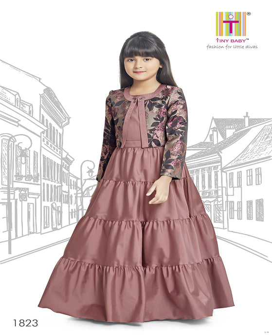 Solid Pattern Brick Colored Gown - 1823-Brick - TINY BABY INDIA