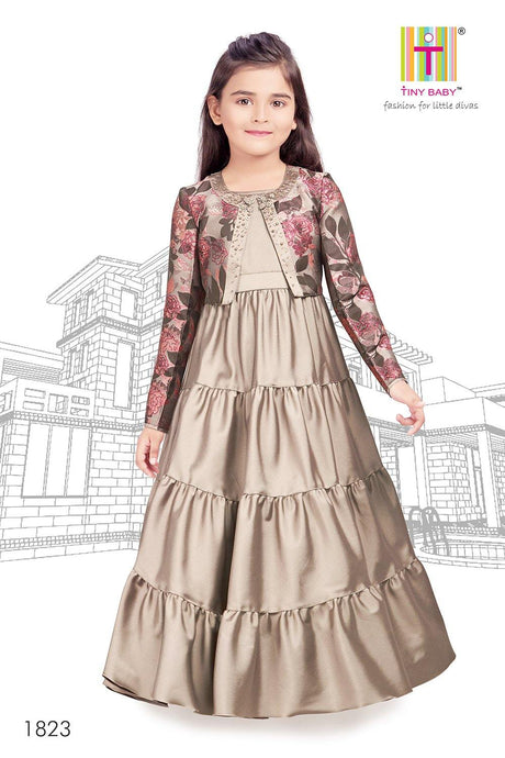 Solid Pattern Fawn Coloured Dress - 1823-Fawn - TINY BABY INDIA