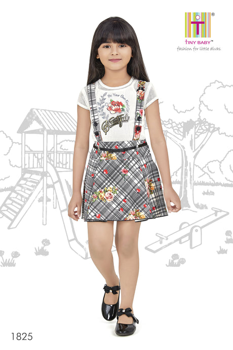 Checks and Floral Pattern Black Coloured Skirt Top Set - 1825-Black - TINY BABY INDIA