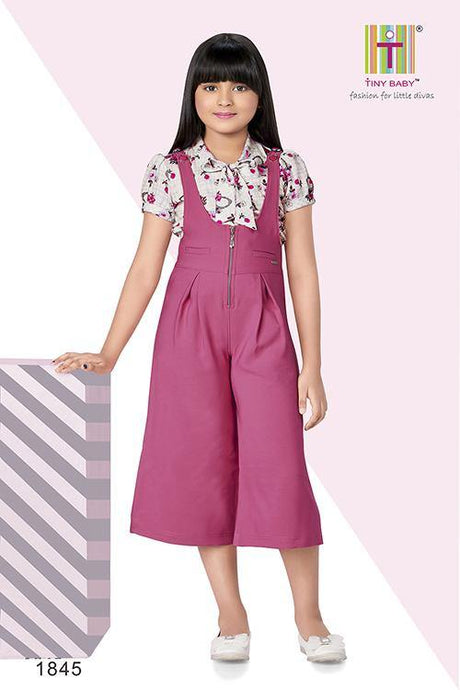 Onion Pink Coloured Culotte Jumpsuit  - 1845 Pink - TINY BABY INDIA