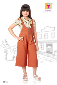 Rust Coloured Culotte Jumpsuit - 1845 Rust - TINY BABY INDIA