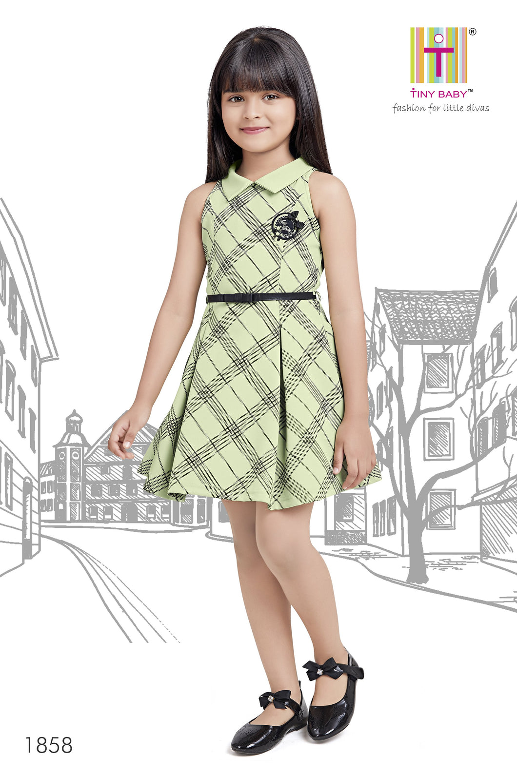 Diagonal Checks pattern Pista Green Dress - 1858-Green - TINY BABY INDIA