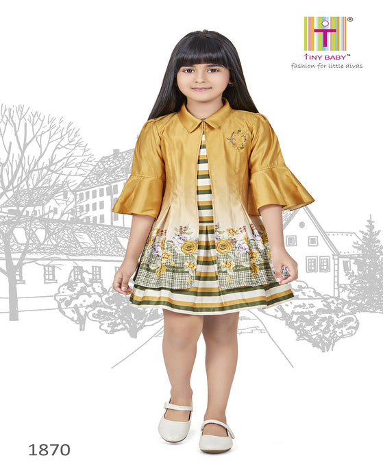 Strips pattern Mustard Coloured Dress - 1870-Mustard - TINY BABY INDIA