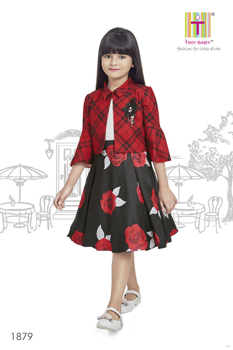 Floral Print Dress - 1879-Red - TINY BABY INDIA