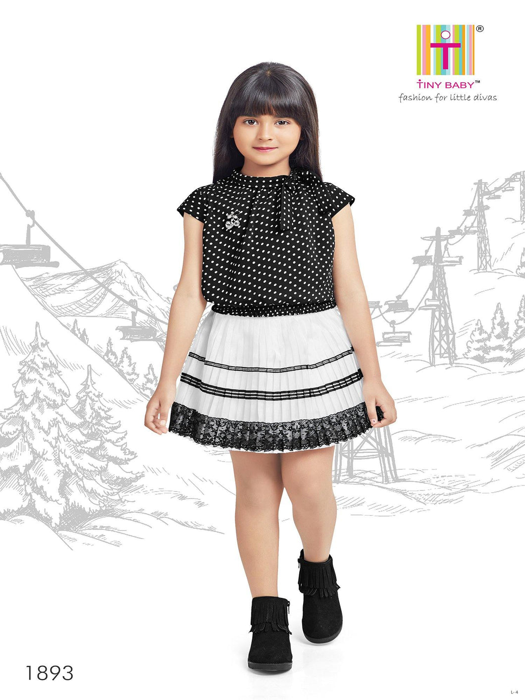 Tiny Baby Black Colored Skirt Top Set - 1893-Black - TINY BABY INDIA