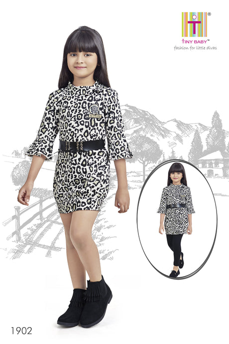 Cheetah Pattern Black Coloured Dress - TINY BABY INDIA