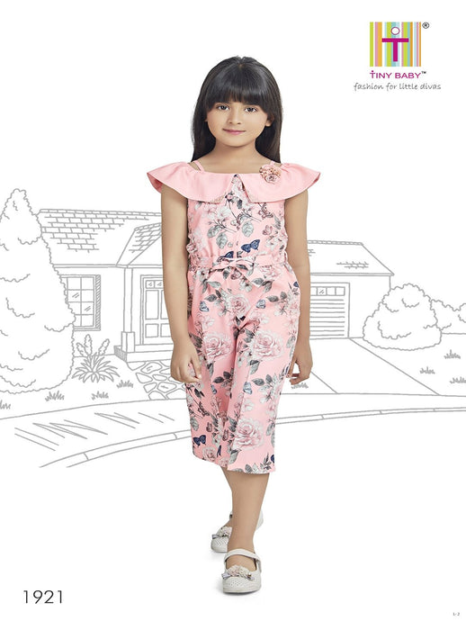 Tiny Baby Peach Coloured Jumpsuit Culottes - 1921-Peach - TINY BABY INDIA