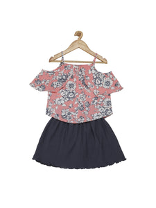 Tiny Baby Half Sleeves Floral Top With Skirt - 1736-Pink - TINY BABY INDIA