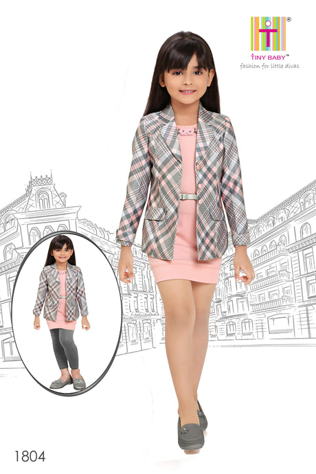 Solid Floral Applique Dress and Checks Jacket Set - 1804-Pink - TINY BABY INDIA