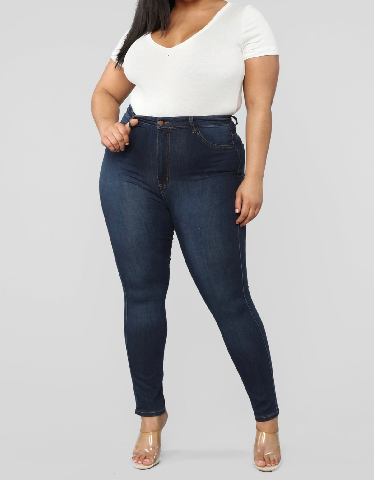 Best Classic High Waisted Skinny Jeans / Dark Denim/ Curvy Girlz