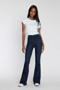 Vibrant High Waisted Flare Bottom Jeans
