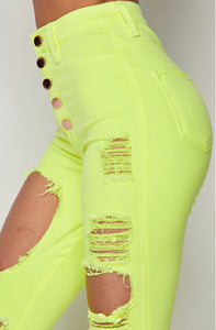 Less Stress- High Waist Neon Distressed Jeans