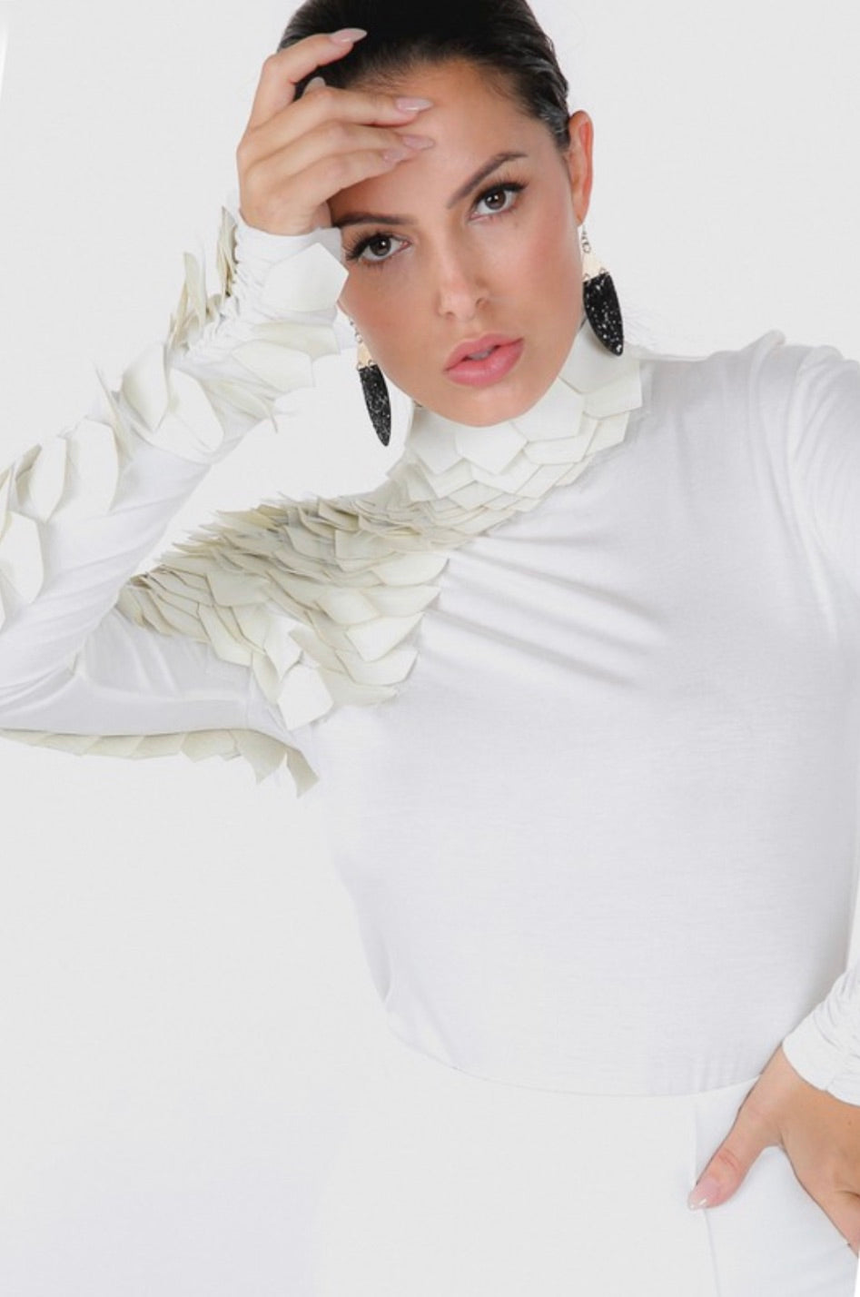 Divine Off White Leather Sleeve Mock Neck