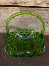 Load image into Gallery viewer, Green Depression Glass Basket
