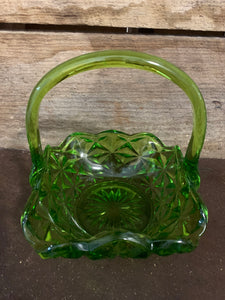 Green Depression Glass Basket
