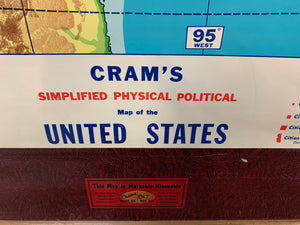 Crams Mark On/Rubb off Simplified Physical Political Map of U.S