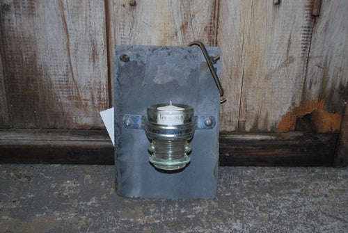 Slate and Insulator Candle Holder