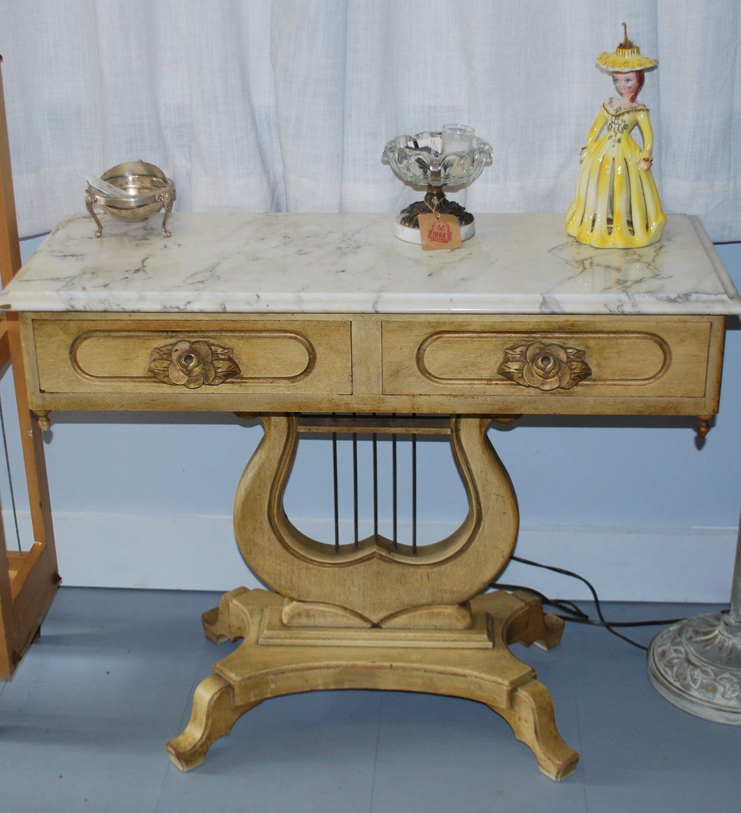 1900's Victorian Lyre Harp Table