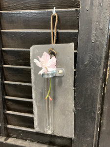 Test tube and slate flower holders
