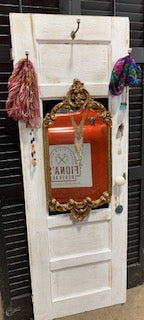 Up cycled cabinet door with mirror