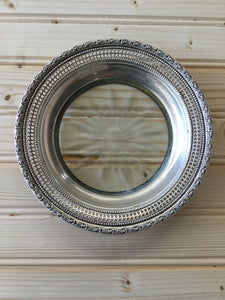 Silver plate and glass tray