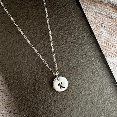 Mini Circle Initial Necklace - Silver Magpie Fingerprint Jewellery