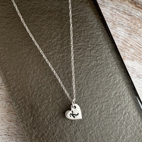 Mini Heart Initial Necklace - Silver Magpie Fingerprint Jewellery