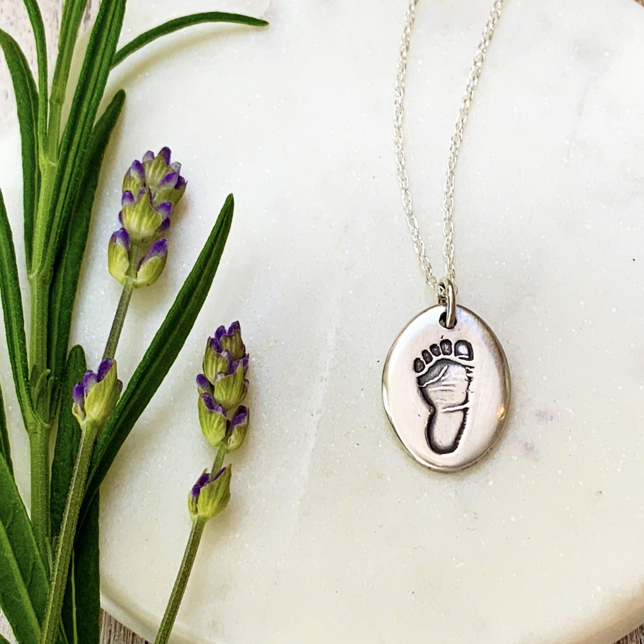 Footprint Necklace (Oval) - Silver Magpie Fingerprint Jewellery