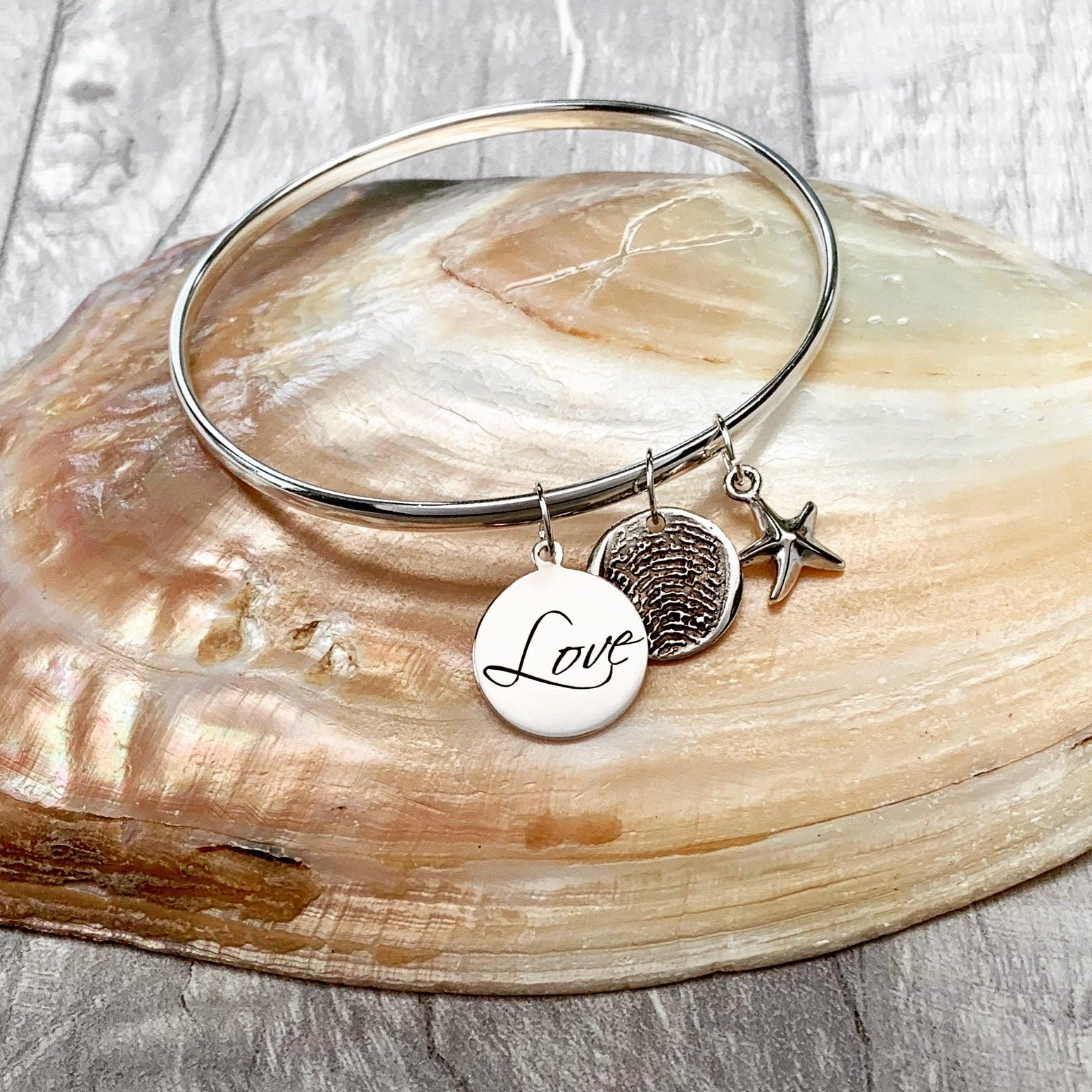 Love Fingerprint Bangle - Silver Magpie Fingerprint Jewellery