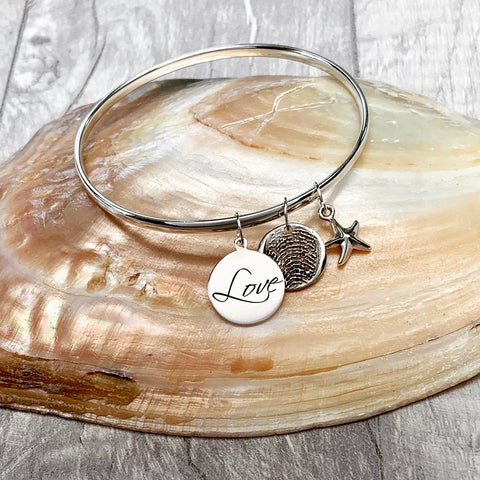 Love My Fingerprint Bangle - Silver Magpie Fingerprints
