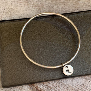 Circle Initial Bangle - Silver Magpie Fingerprint Jewellery
