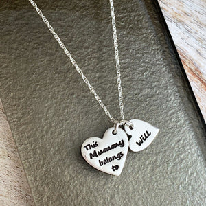 This Mummy Belongs To Necklace - Silver Magpie Fingerprint Jewellery