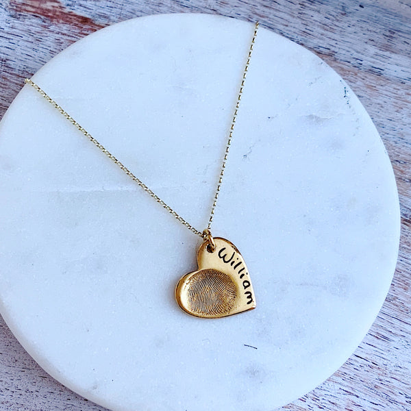 Gold Plating (for hand/foot/paw print necklaces) - Silver Magpie Fingerprint Jewellery