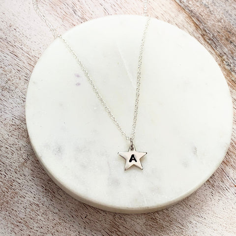 Star Initial Necklace - Silver Magpie Fingerprint Jewellery