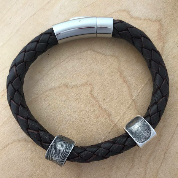 Leather Fingerprint Bracelet - Silver Magpie Fingerprints