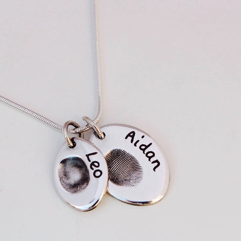 Double Fingerprint Necklace (Oval) - Silver Magpie Fingerprint Jewellery