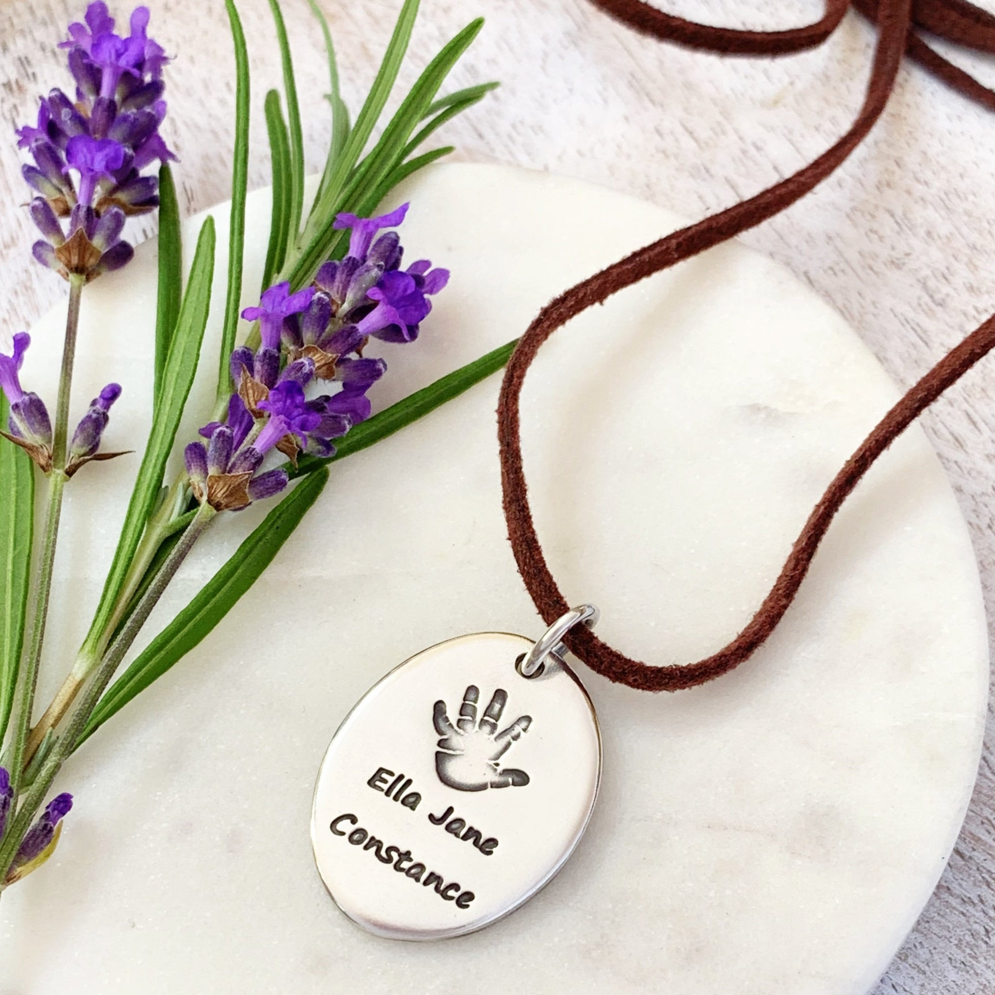 Oval Handprint Necklace (XL) - Silver Magpie Fingerprint Jewellery