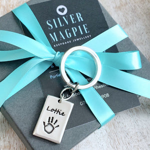 Handprint & Footprint Keyring - Silver Magpie Fingerprint Jewellery