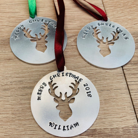 Reindeer Bauble - Silver Magpie Fingerprint Jewellery